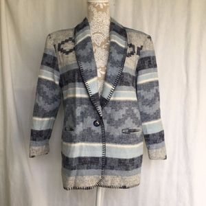 Coldwater Creek / Blue Aztec Oversize Blanket Coat